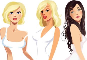 beautiful blonde, brunette girls in white dress, beautiful face, fashion beauty industry