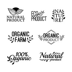 Monochrome logotype set. Badges, labels , with plants, herb and leaves elements, wreaths and laurels green branches. Design template for for natural products. Farms, organic and bio sign. Vector