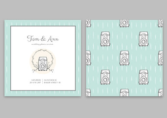 Vector template of wedding photo session certificate. Blue pattern with cameras