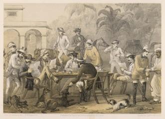 Obraz British men taking coffee in India  1860. Date: 1860 - fototapety do salonu