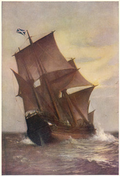 The Mayflower: transporting Pilgrim Fathers to New World.. Date: 1620