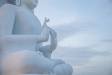 The Big white Buddha is respected for Buddhist.