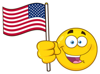 Patriotic Yellow Cartoon Emoji Face Character Waving An American Flag. Illustration Isolated On White Background