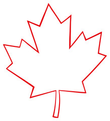Outlined Canadian Maple Leaf Red Line Cartoon Drawing. Illustration Isolated On White Background
