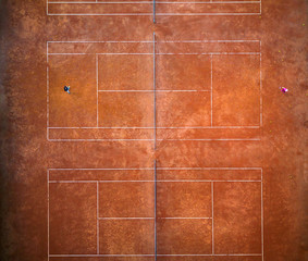 Aerial view of the tennis court
