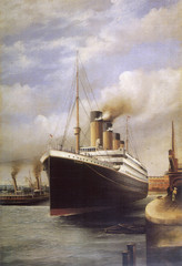 RMS Titanic docked. Date: 1912