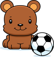 Cartoon Smiling Soccer Player Bear