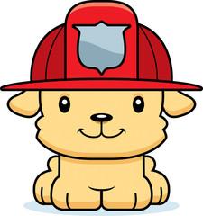 Cartoon Smiling Firefighter Puppy