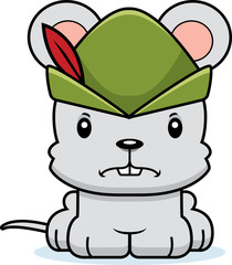 Cartoon Angry Robin Hood Mouse