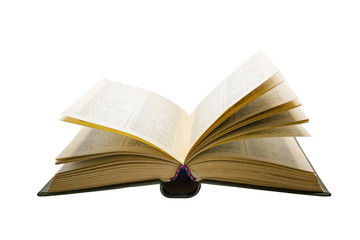 open vintage book isolated on white background