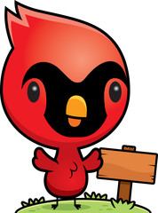 Cartoon Baby Cardinal Wood Sign