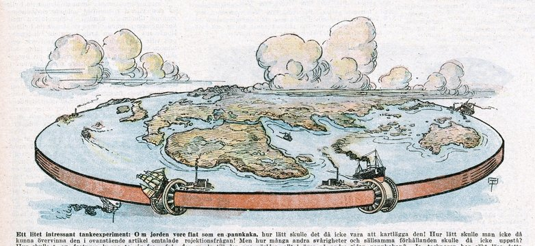 Depiction of a flat planet Earth. Date: 1922