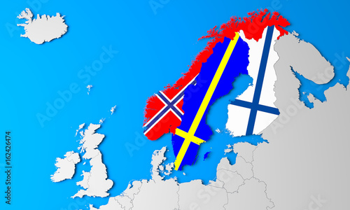 3D North Europe map\