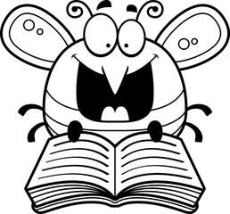 Cartoon Bee Reading