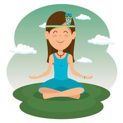 hippie woman meditating vector illustration graphic design