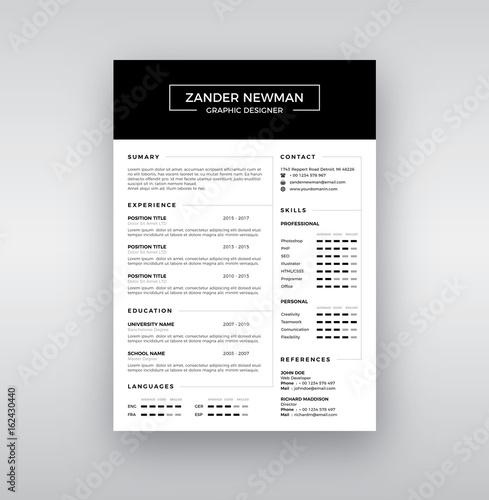 cv resume clean design vector template curriculum vitae