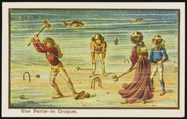 Futuristic underwater croquet. Date: 1899