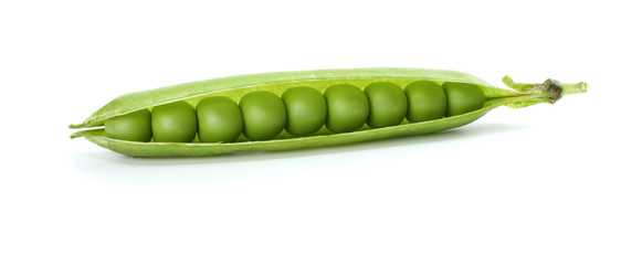 fresh green peas isolated on a white background