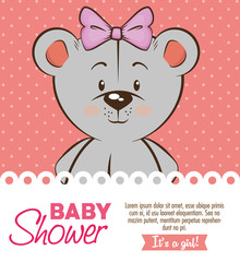baby shower girl invitation card vector illustration graphic design