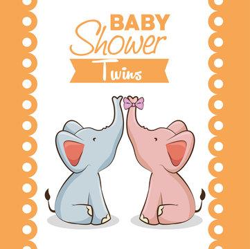 baby shower twins invitation card vector illustration graphic design