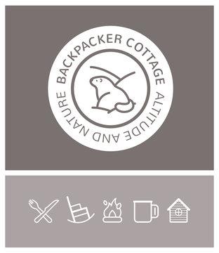 logo, identité, randonnée, trekking, marmotte, backpacker cottage, refuge, montagne