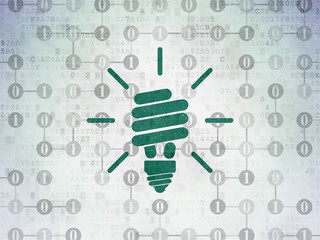 Business concept: Energy Saving Lamp on Digital Data Paper background