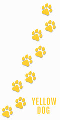 Dog tracks of yellow color isolated on white background. Vertical position. Yellow earth