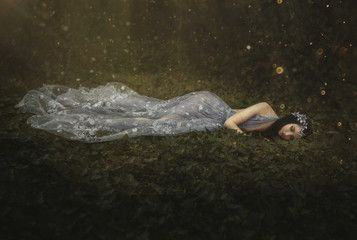 Sleeping Beauty. The girl lies on the grass in a dark, dense forest. An unusual transparent dress. Artistic processing