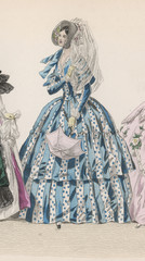 Striped Dress 1840s. Date: early 1840s