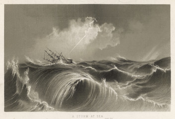 Lightning Strikes Ship. Date: circa 1850