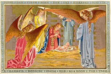 Christmas nativity scene in the manger with angels. Date: 1908