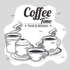 hand drawn set coffee vector illustration graphic design