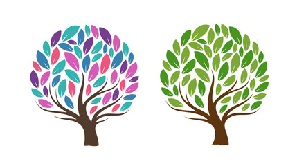 Abstract tree with leaves. Ecology, natural product, icon or logo. Vector illustration