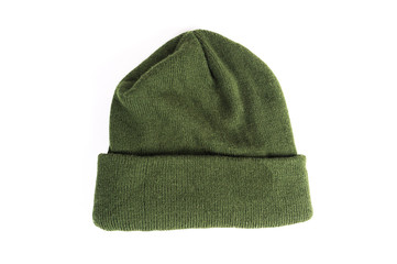 Green winter hat, beany isolated on white background isolated
