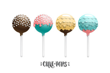 Set of vector colored lollipop on a stick, isolated on a white background, with lettering.
