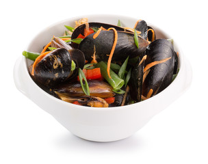mussels with vegetables in a plate