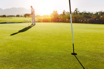 Golf hole and flag in the green field with player in background