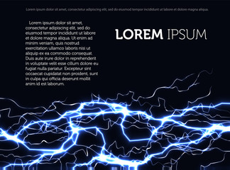 Template of the advertising leaflet on a black background with fantastic blue lightning, text and laser beams. Vector web banner with advertising information.
