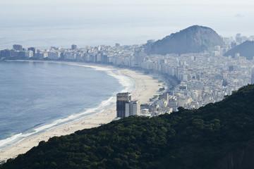 A cityscape of Copacabana beach in Rio de Janeiro, Brazil.