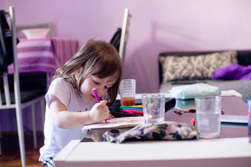 Cute little girl is coloring