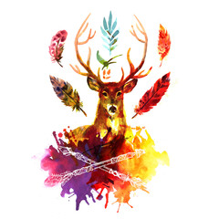 watercolor illustration deer