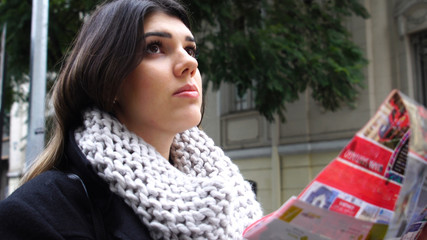 Woman Studying a City Map