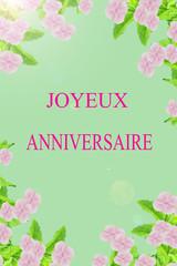joyeux anniversaire sur carte florale,fond vert