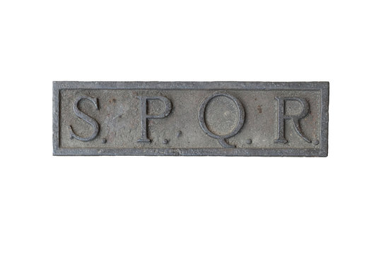 Isolated SPQR text, acronym of ancient Roman Empire. Illustration for movie title, presentation, video making, historic web site or book.