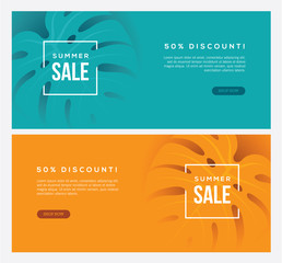 Two summer sale horizontal web banners