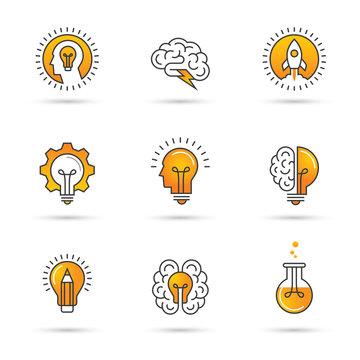 Creative idea logo set with human head, brain, light bulb.