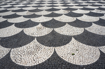 Mosaic tiles pavement pattern in Funchal, Madeira, Portugal.