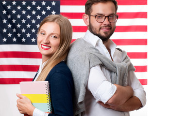 Students is learning English as a foreign language. American flag