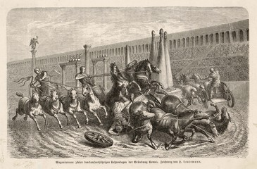 Chariot race accident. Date: ancient