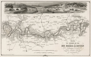 French Railway Map. Date: circa 1850